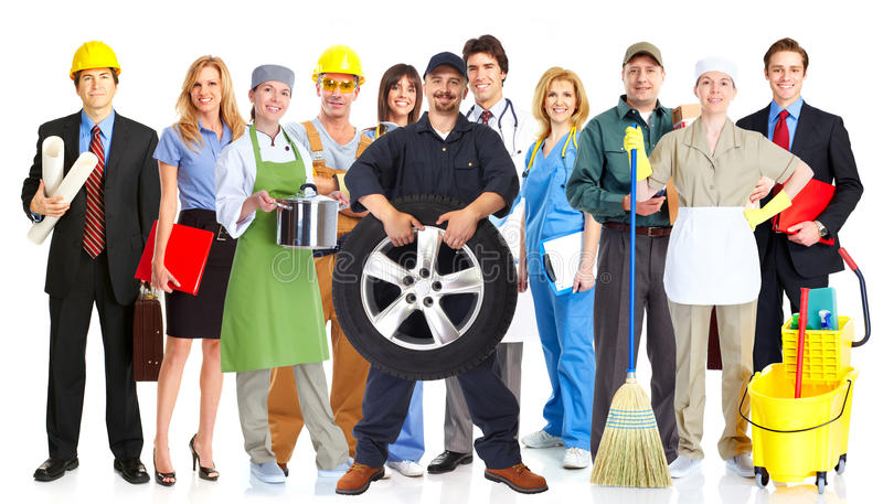 Group of workers people. Group of workers people isolated white background. Teamwork royalty free stock photo