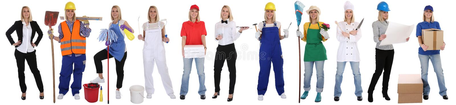 Group of workers professions women business standing occupation. Group of workers professions woman business standing occupation career isolated on a white stock images