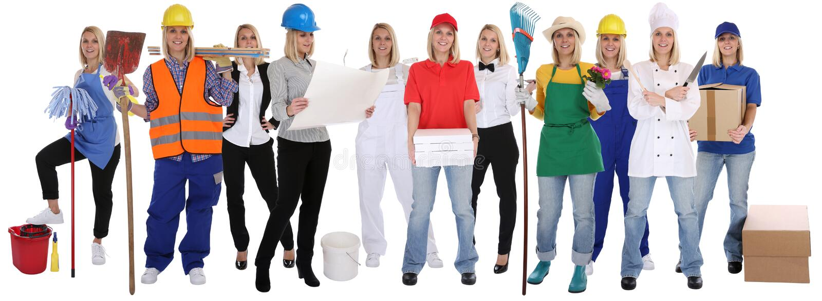 Group of workers professions women professionals standing occupation career isolated royalty free stock photography