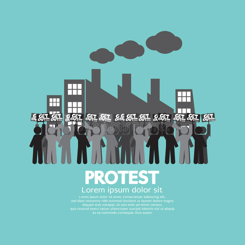 Group Of Workers Protest In Front Of The Factory royalty free illustration