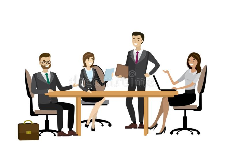 Business team brainstorming together in office stock illustration