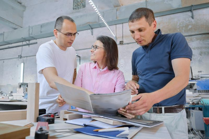 Group of working people discussing work process royalty free stock images