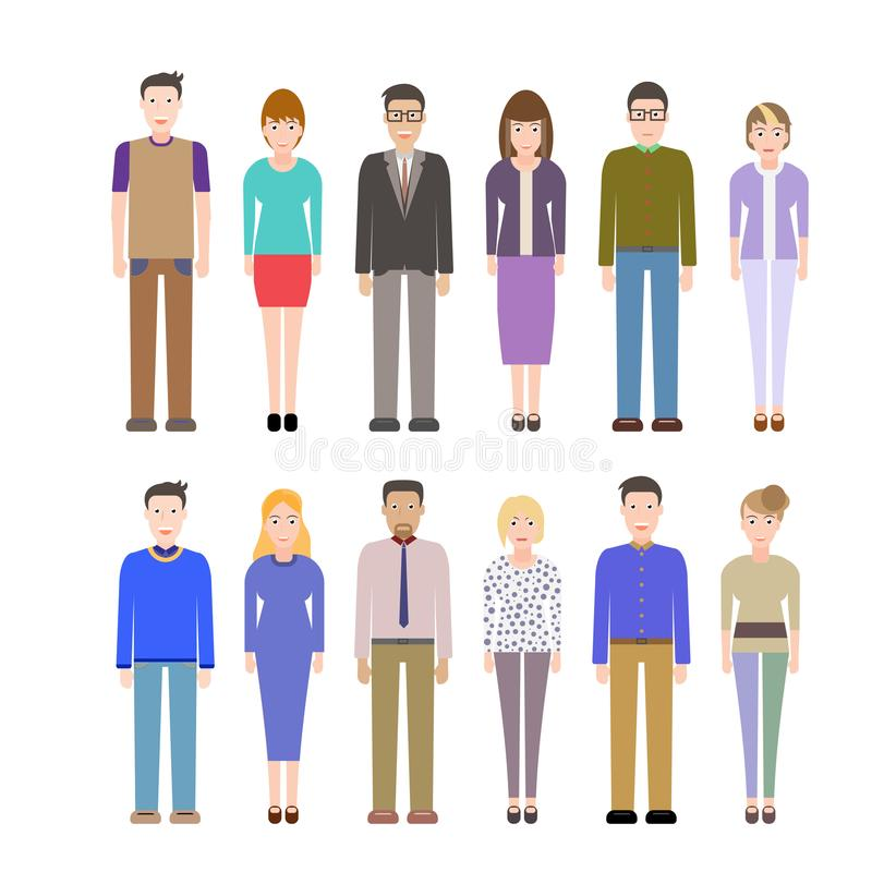 Modern peopl flat kit stock illustration