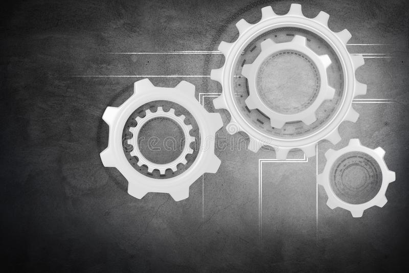 Group of working silver cogwheels. Group of working silver cogwheels over gray wall background royalty free stock images