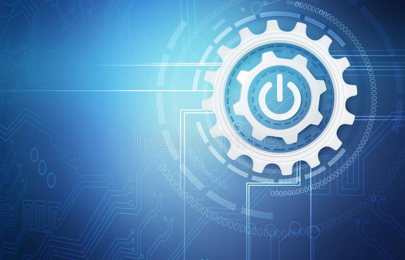 Group of working silver cogwheels with power button. Over blue background royalty free stock photos