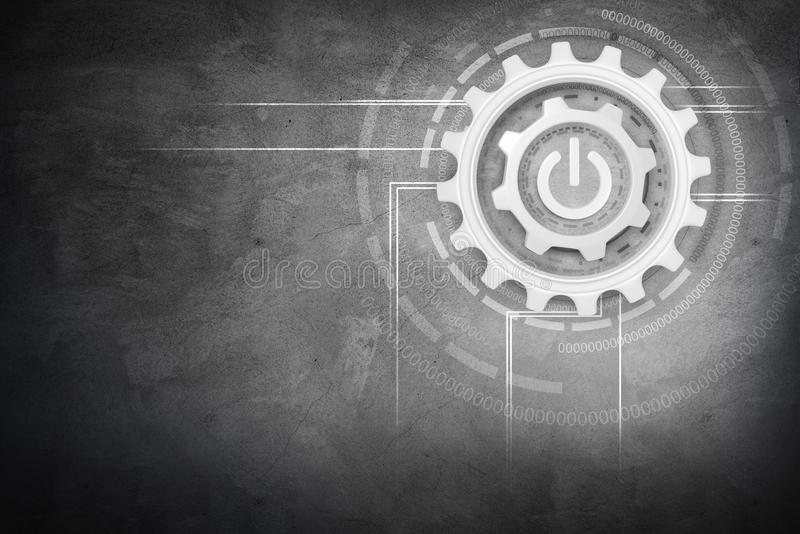Group of working silver cogwheels with power button vector illustration