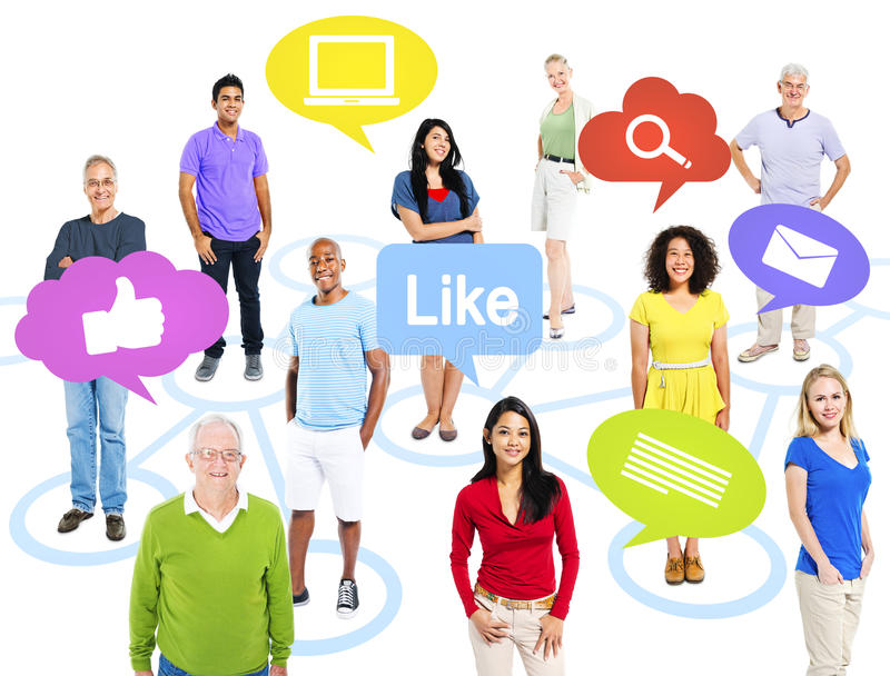 Group Of World People With Social Media Icons Stock Photo