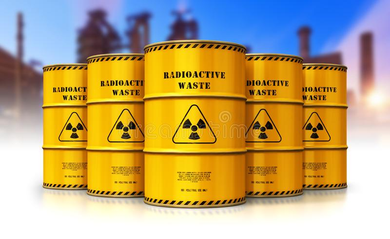 Group of yellow drums with radioactive waste in front of nuclear stock illustration