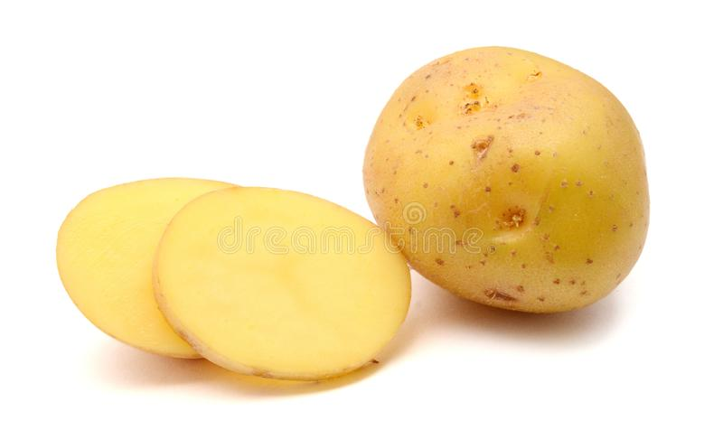 A bio russet potato isolated white background. Group of yellow tasty new potato isolated on white background close up. Fresh, pile royalty free stock image