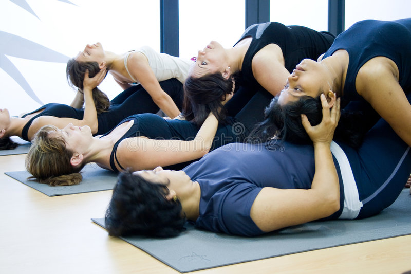 Group yoga stock photography