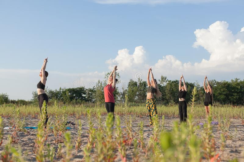 Group yoga performing sun salutations outdoors. Group yoga performing sun salutations in outdoor environment royalty free stock images