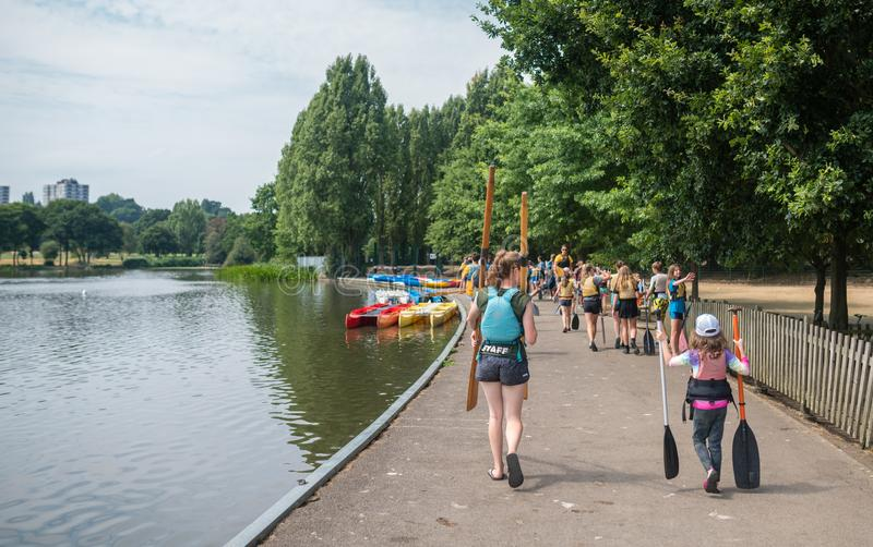 Paddling and kayaking school stock photo