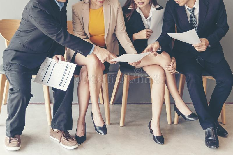 Group young and adult of asian people waiting for job interview recruitment. royalty free stock photo