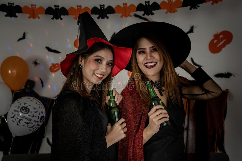 Halloween Party drinking beer royalty free stock images