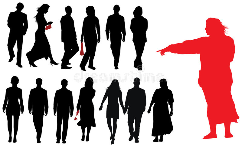 Group of young adults. Vector silhouette stock illustration