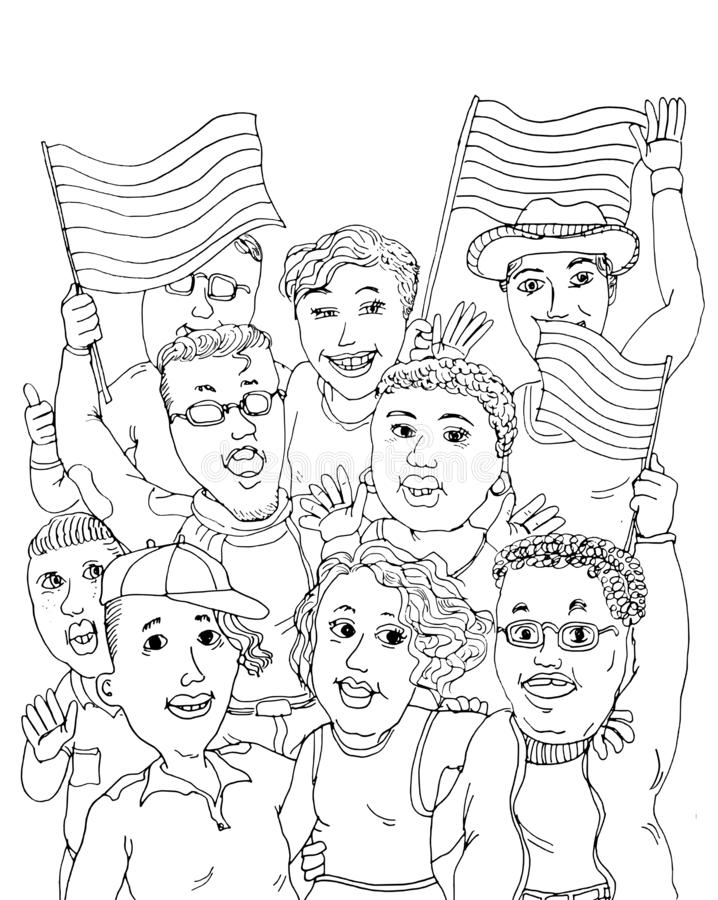 Gay Pride Celebration. A group of young adults LGBTQ people celebrating Gay Pride with gay rainbow flags as a symbol of equality, diversity, freedom to love stock illustration