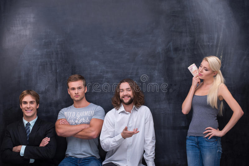 Group of young adults man waiting for being stock photos