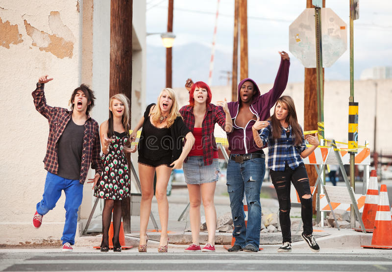 A group of young angry punk teens stock images