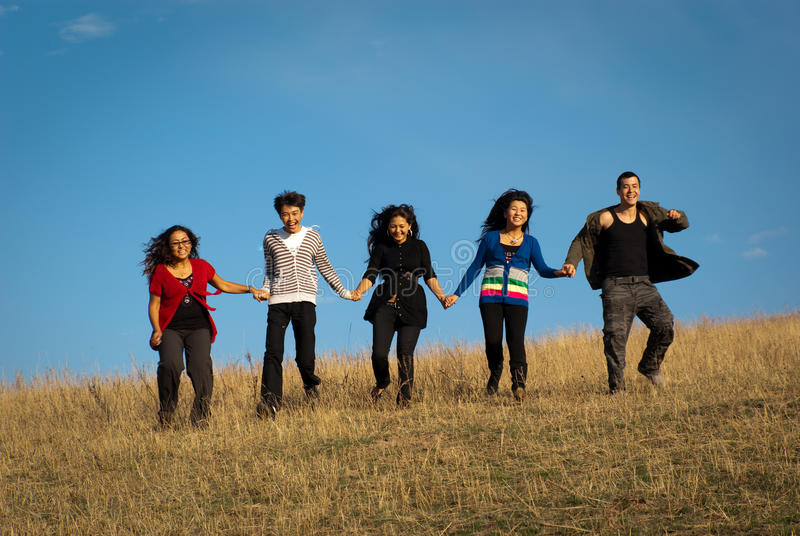 Group of young asian beautiful people royalty free stock image