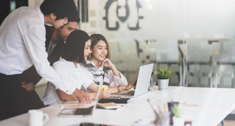 Group of young Asian business people brainstorming the ideas stock photos