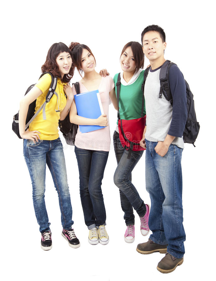 Group of young asian students stock image