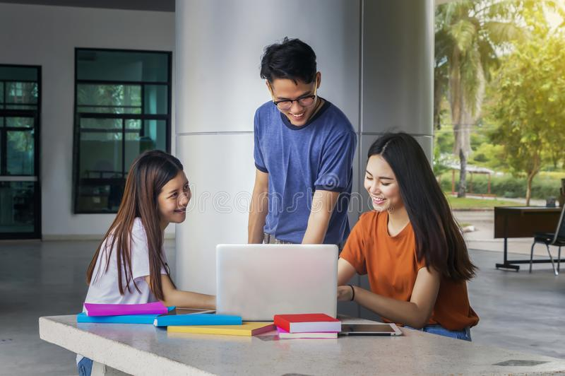 Group of young asian studying in university sitting during lecture education students college university. stock images