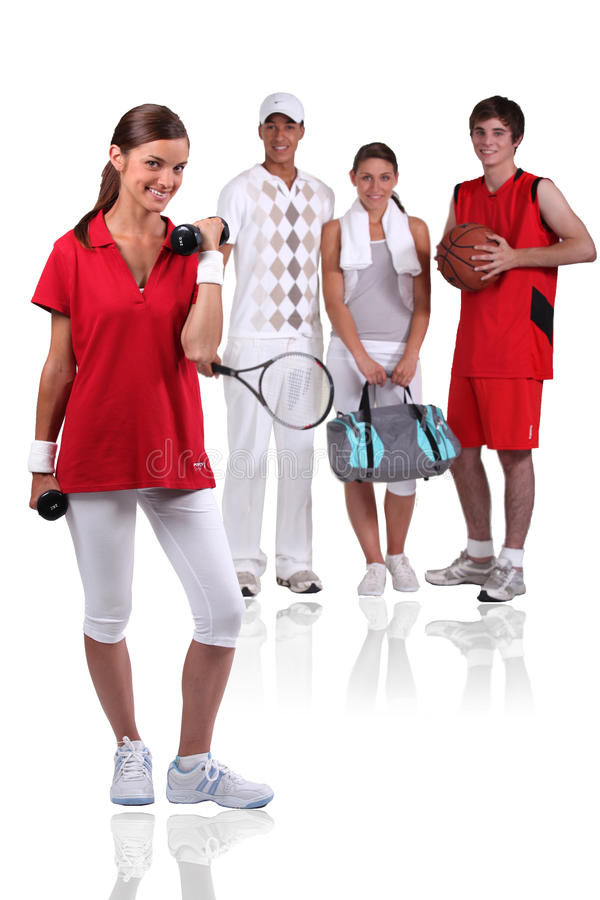 Group of young athletes stock photo