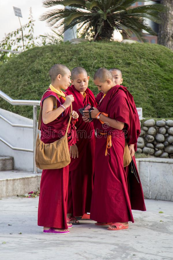 Group of young Buddhist monks in Kathmandu royalty free stock image