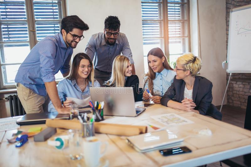 Group of young business people in smart working together stock images