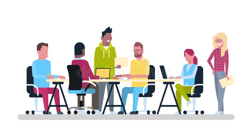 Group Of Young Business People Working Together Sit At Office Desk Coworking Mix Race Creative Workers Team. Brainstorming Meeting Flat Vector Illustration