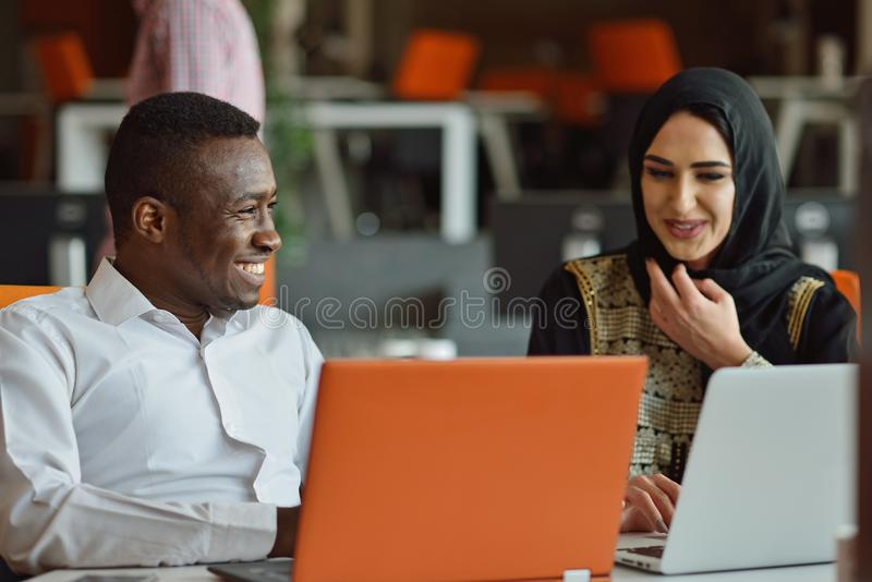 Group Young Coworkers Making Great Business Decisions.Creative Team Discussion Corporate Work Concept Modern Office. New Startup Marketing Idea Presentation stock photography
