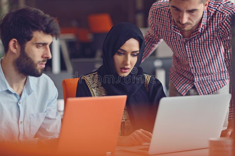 Group Young Coworkers Making Great Business Decisions.Creative Team Discussion Corporate Work Concept Modern Office. stock photography