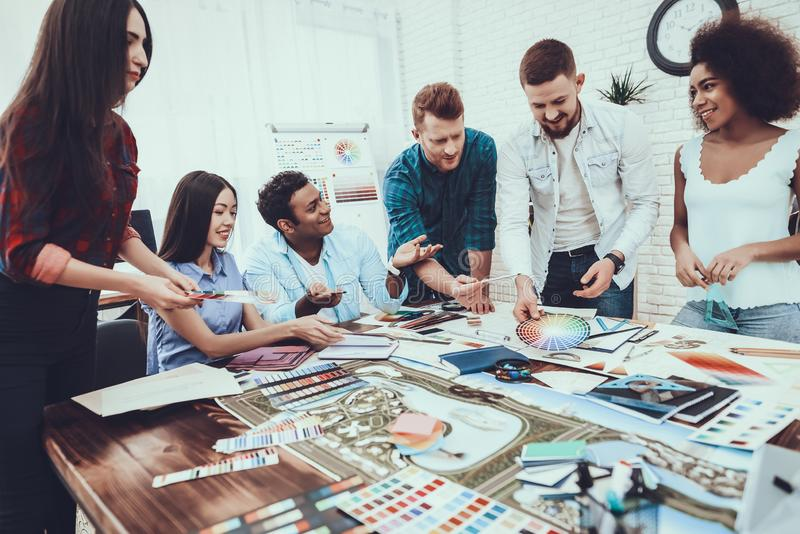 Group. Young. Designers. Different Nationalities. royalty free stock image