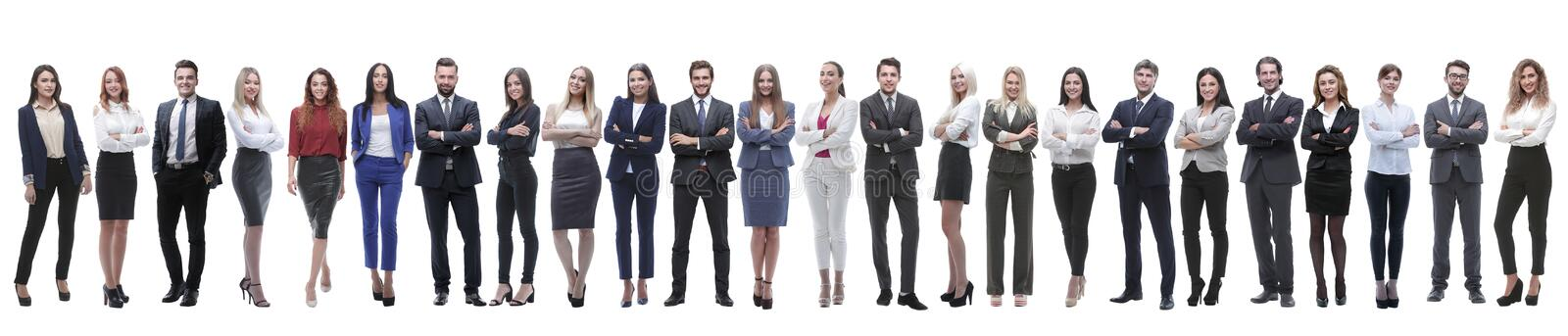 Group of young entrepreneurs standing in a row. Panoramic photo of a group of young entrepreneurs standing in a row . isolated on white stock photo
