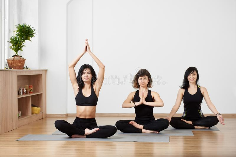 Group of young female friends sitting diagonally on floor on exercise mat, meditating together in traditional yoga pose stock photo