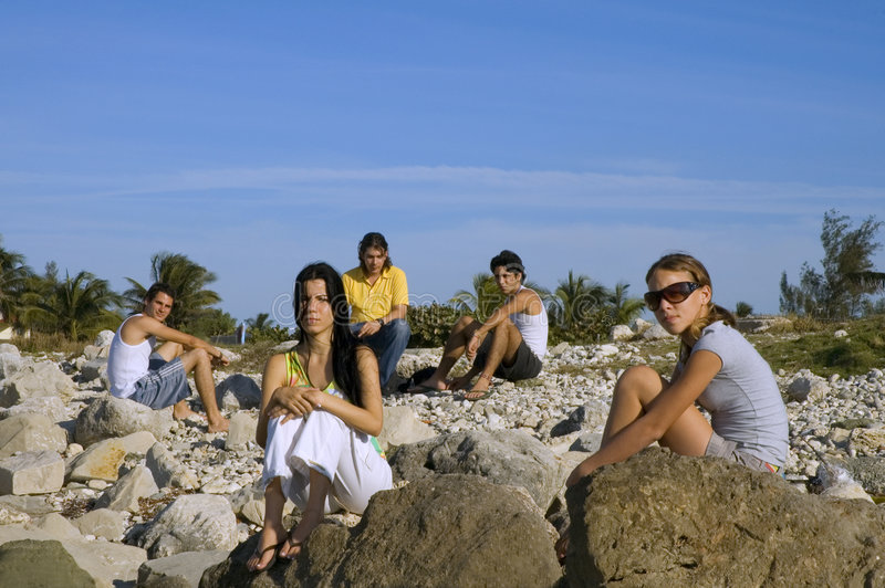 Download Group of young friends stock photo. Image of resting, coast - 4264646