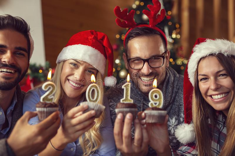Friends on New Year`s Day royalty free stock image