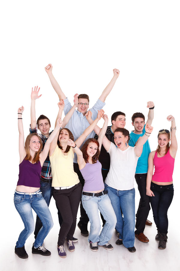Group of young friends having fun stock images