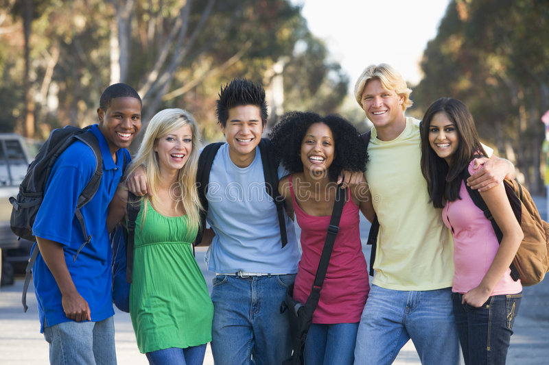 Group of young friends having fun royalty free stock images