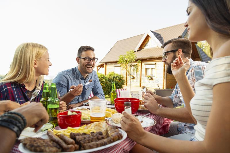 Friends at a barbecue party having lunch royalty free stock photo