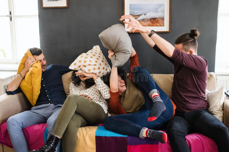A group of young friends indoors at home, having fun. House sharing concept. royalty free stock photos