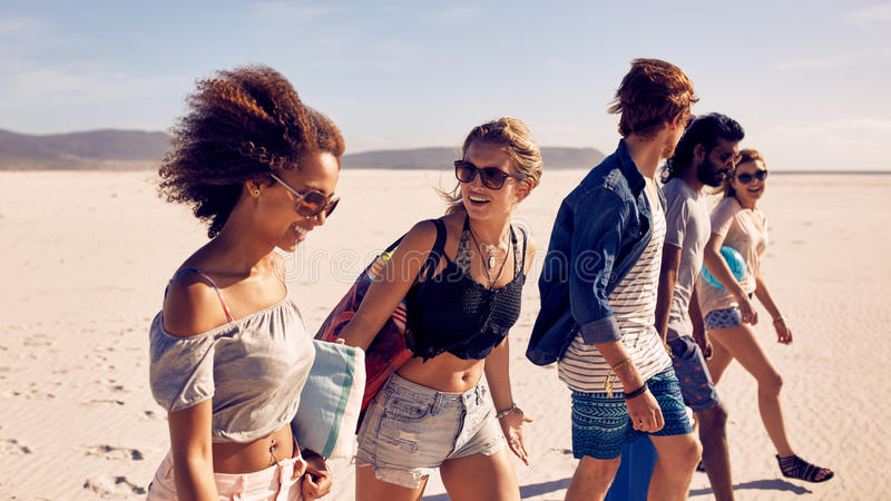 Group of young friends walking down a beach royalty free stock images