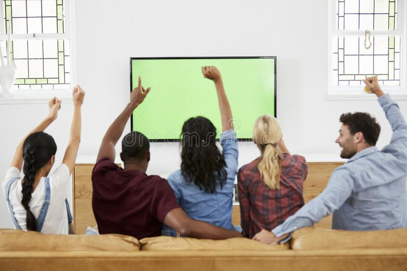 Group Of Young Friends Watching Sports On Television And Cheering royalty free stock photography