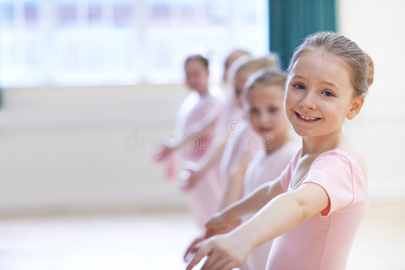 Group Of Young Girls In Ballet Dancing Class stock image