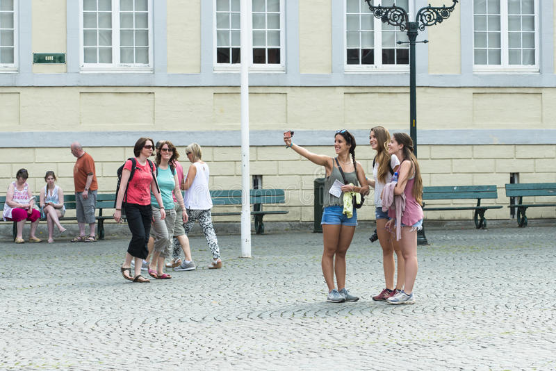 A group of young girls made a self-portrait royalty free stock image