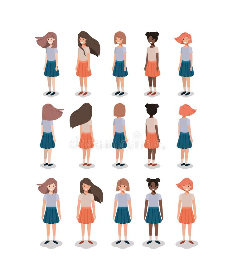 Group of young girls royalty free illustration