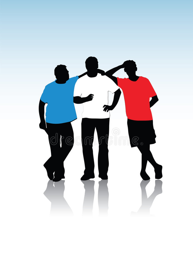Group of young guys, silhouett. Es, illustration royalty free illustration