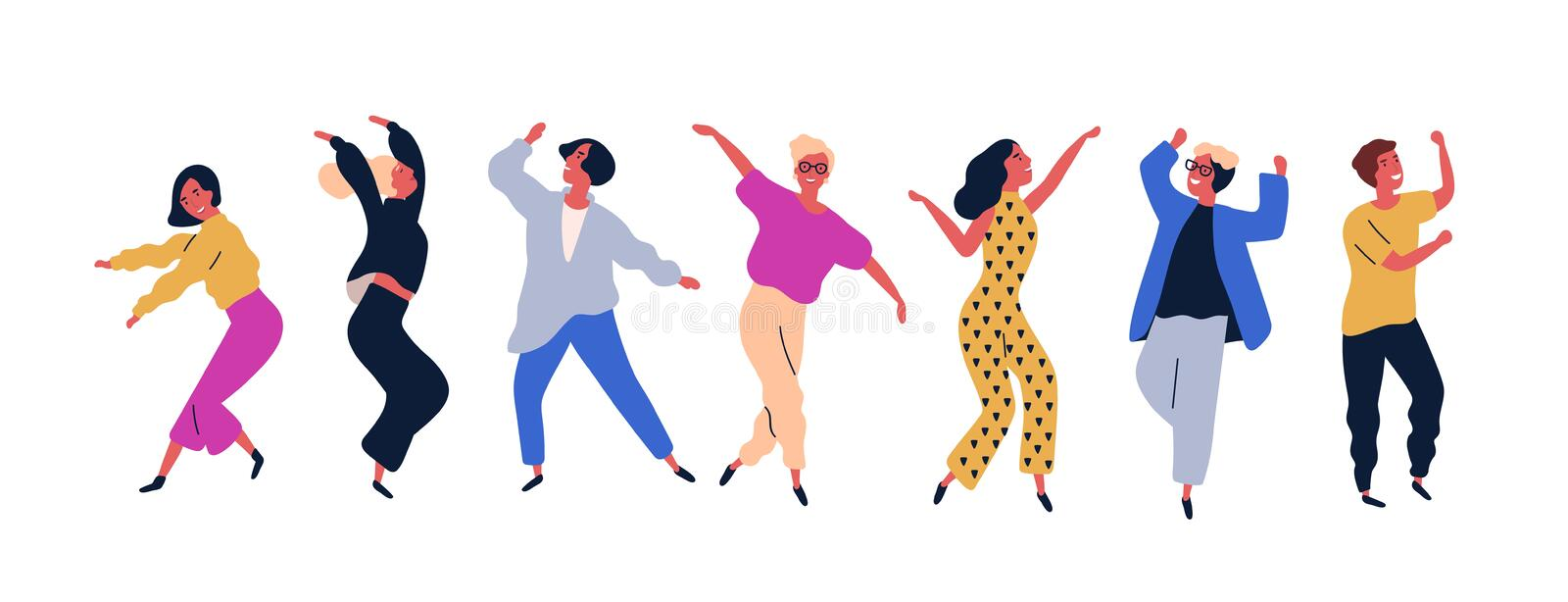 Group of young happy dancing people or male and female dancers isolated on white background. Smiling young men and women. Enjoying dance party. Colorful vector stock illustration