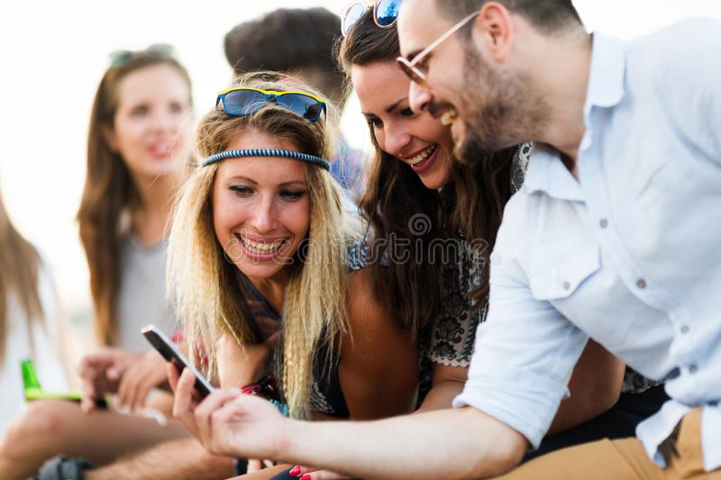 Group of young happy friends having fun time stock image