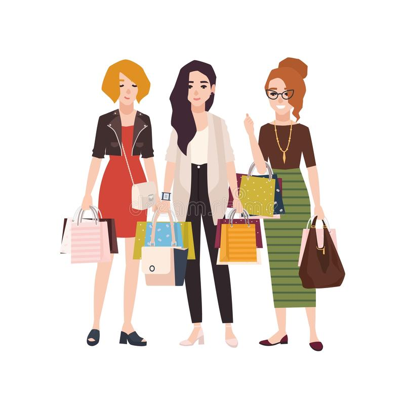 Group of young happy woman holding shopping bags. Girls or female friends with their purchases, shopaholics. Flat. Cartoon characters isolated on white stock illustration
